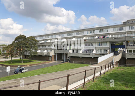 Low rise housing blocks at Thamesmead, southeast London, the famous 1960s social housing project developed by the Greater London Council - Stock Photo