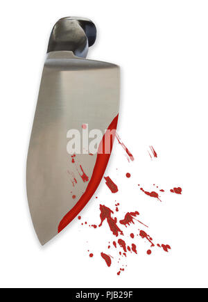 Big bloody steel knife in perspective with scattered blood stains on white background - killer violance murderer concept background with copy space. - Stock Photo
