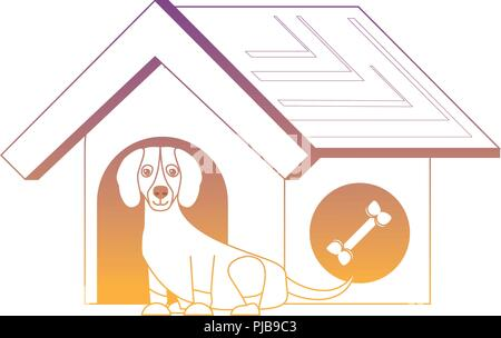 pet house with cute dachshund dog over white background, vector illustration - Stock Photo