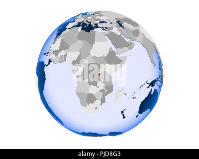 Burundi highlighted in red on political globe with transparent oceans. 3D illustration isolated on white background. - Stock Photo