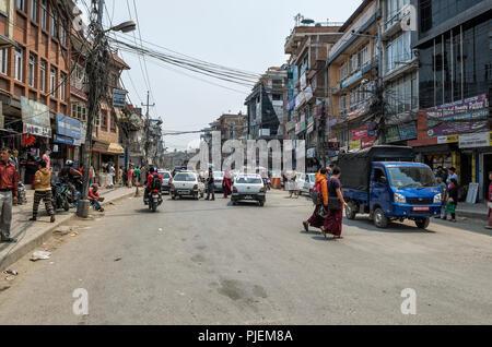 Kathmandu, Nepal - April 15, 2016: The lifestyle and environment of major streets in Kathmandu, Nepal. - Kathmandu is the capital and largest municipa - Stock Photo