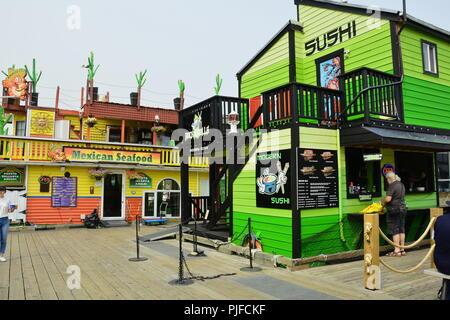 Restaurants at Fisherman's wharf in Victoria BC,Canada - Stock Photo