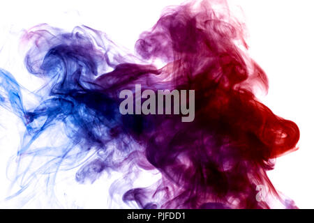 Dense multicolored smoke of  pink,  blue and purple colors on a white isolated background. Background of smoke vape - Stock Photo