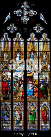 Cologne Cathedral, stained glass window, Adoration of the Magi and the Shepherds and the Annunciation, 1846 - Stock Photo