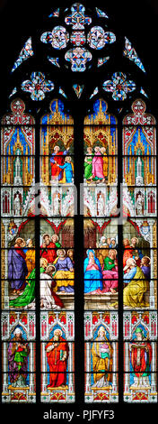 Cologne Cathedral, stained glass Window of the Pentecost, 1848; shows the descent of the Holy Spirit - Stock Photo