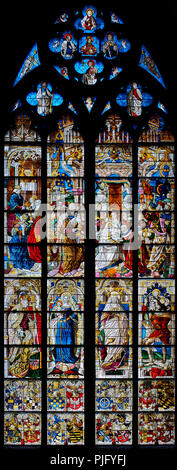 Cologne Cathedral, stained glass Window of the Three Holy Magi, 1507 or 1508, Adoration of the Three Kings, Queen of Sheba visiting Solomon - Stock Photo
