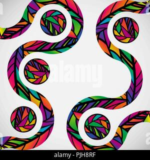 Abstract background with colorful mosaic design wave lines. - Stock Photo