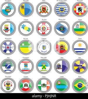Set of icons. Flags of the Brazilian cities. - Stock Photo