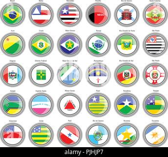 Set of icons. Flags of the Brazilian states. - Stock Photo
