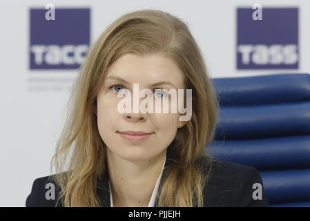 Moscow, Russia. 07th Sep, 2018. MOSCOW, RUSSIA - SEPTEMBER 7, 2018: Alexandra Denisova, project head at the Agency of Strategic Initiatives, during a press conference via a video link between Moscow, Novosibirsk, Chelyabinsk, Votkinsk, and Tallinn on the 1st Cleanliness Cup, a waste collecting competition, to be held on September 15, 2018. Sergei Petrov/TASS Credit: ITAR-TASS News Agency/Alamy Live News - Stock Photo