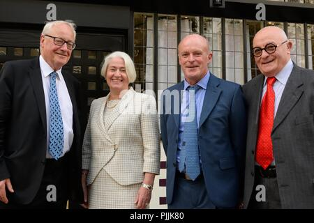 Glasgow, UK. 7th September, 2018. Sauchiehall Street Glasgow, Scotland, UK. Glasgow businesswoman Celia Sinclair and fellow investors after the Royal visit to the Willow tearooms today at which the Duke of Rothesay placed a wood carving in the restaurant designed by Charles Rennie Mackintosh. - Stock Photo