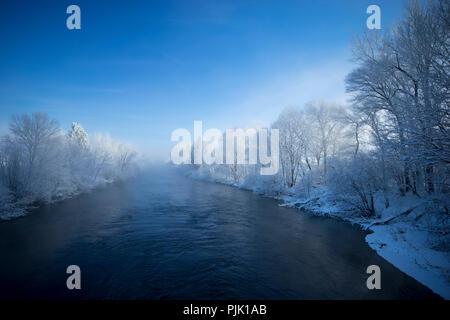 Morning on the Loisach, near Kochel, Bavarian Alps, Upper Bavaria, Bavaria, Germany - Stock Photo