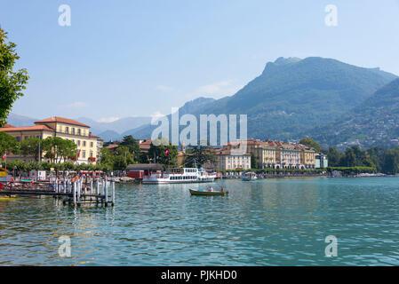 Boat trip on Lake Lugano with a view of Lugano, Lungolago, Ticino, Switzerland - Stock Photo