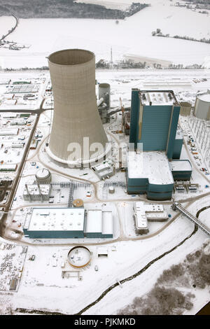 Aerial view, EON Datteln4 power station, construction freeze, winter pictures, coal power station, Datteln, Ruhr area, North Rhine-Westphalia, Germany, Europe - Stock Photo