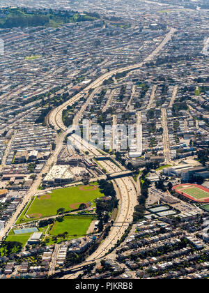 Freeway 101 south in the south of San Francisco, San Francisco Bay Area, United States of America, California, United States - Stock Photo