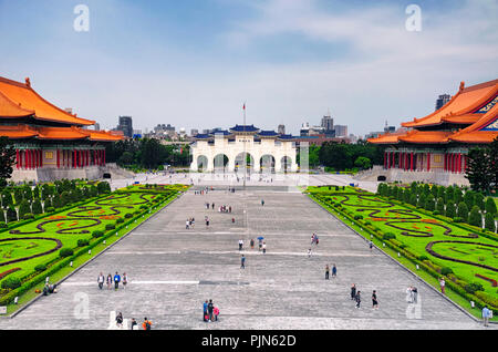 March 31, 2018. Taipei, Taiwan.  Tourists visiting liberty square near the national theater and concert halls in the city of Taipei, Taiwan. - Stock Photo