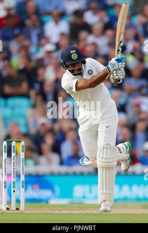 Kia Oval, London, UK. 8th Sep, 2018. Specsavers International Test Match Cricket, 5th test, day 2; Cheteshwar Pujara of India Credit: Action Plus Sports/Alamy Live News - Stock Photo