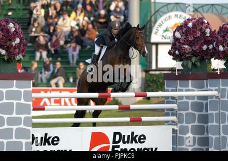 The National, Spruce Meadows June 2002, Beezie Madden (USA) riding Authentic - Stock Photo