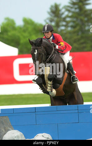 The National, Spruce Meadows June 2002, Beezie Madden (USA) riding Judgement - Stock Photo