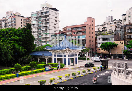 March 31, 2018.  Taipei, Taiwan.  Apartment buildings in the Zhongzheng district of Taipei Taiwan near the entrance of the National Theater Hall. - Stock Photo