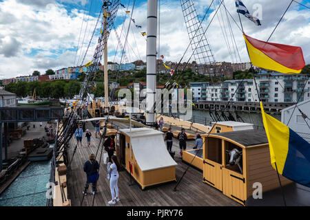 Looking across the foredeck of the SS Great Britain at the quayside towards Clifton, Bristol - Stock Photo
