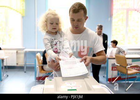 Moscow, Russia. 09th Sep, 2018. MOSCOW, RUSSIA - SEPTEMBER 9, 2018: A man casts his ballot at a polling station on Single Voting Day. Russia elects the heads of 26 regions, members of the legislative assemblies of 17 regions and 7 State Duma members. Valery Sharifulin/TASS Credit: ITAR-TASS News Agency/Alamy Live News - Stock Photo
