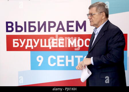 Moscow, Russia. 09th Sep, 2018. MOSCOW, RUSSIA - SEPTEMBER 9, 2018: Russian Prosecutor General Yuri Chaika at a polling station on Single Voting Day. Russia elects the heads of 26 regions, members of the legislative assemblies of 17 regions and 7 State Duma members. Valery Sharifulin/TASS Credit: ITAR-TASS News Agency/Alamy Live News - Stock Photo