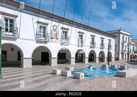 Municipal Council of Tavira Town Hall Republic Square Tavira Portugal exterior view of 1837 white painted town hall civic building premises with moder - Stock Photo