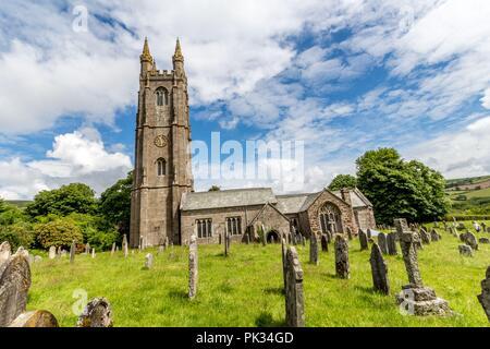 St Pancras Church, Widecombe-in-the-Moor, Devon, UK - Stock Photo