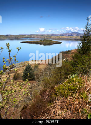 From a bright and sunny Arduaine Gardens Viewpoint. North west, across Loch Melfort. To Shuna, Luing, Seil, Torsa, Eilean Gamhna and Degnish Point. - Stock Photo