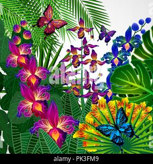 Floral design background. Tropical orchid flowers, leaves and butterflies. - Stock Photo