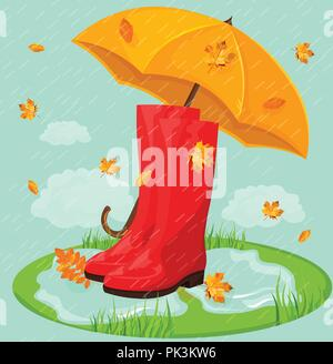 Red boots and umbrella Vector. Rainy day background - Stock Photo