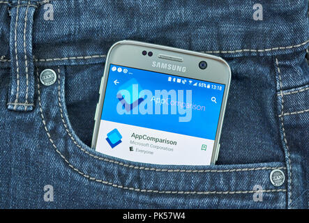 MONTREAL, CANADA - SEPTEMBER 8, 2018: Microsoft AppComparison mobile application on Samsung S7 screen. - Stock Photo