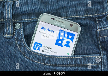 MONTREAL, CANADA - SEPTEMBER 8, 2018: Microsoft My Apps Azure Active directory mobile application. - Stock Photo