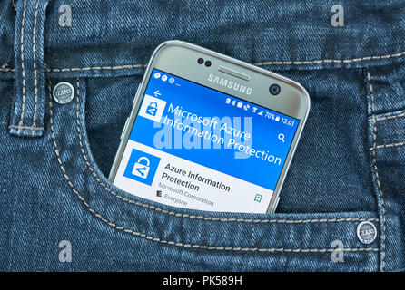 MONTREAL, CANADA - SEPTEMBER 8, 2018: Microsoft Azure Information Protection mobile application on Samsung s7 screen. - Stock Photo