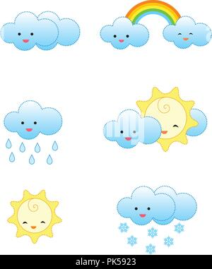 Collection of cute and colorful weather related icons isolated on white background - Stock Photo