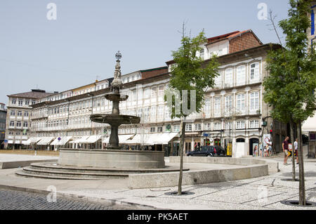 Portugal, North region, Guimaraes, historical center listed as World Heritage by UNESCO, largo do Toural or place of Toural - Stock Photo