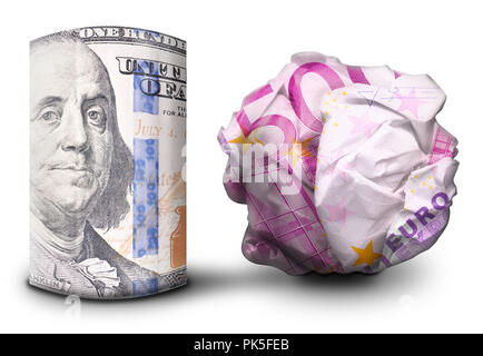 Two fiat money bills standing next to each other. One standing flat and one crumbled symbolizing currency strength and weakness. - Stock Photo
