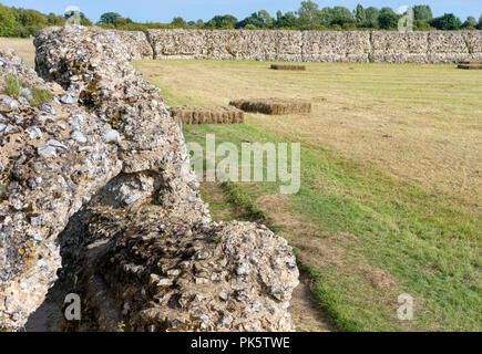 The east and north walls of Burgh Roman Fort also known as Gariannonum, Garannum, Caister-on-Sea, Norfolk, England, UK - Stock Photo