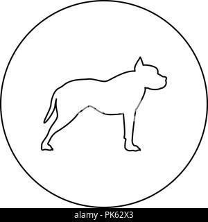 Pit bull terrier icon black color in round circle outline vector I - Stock Photo
