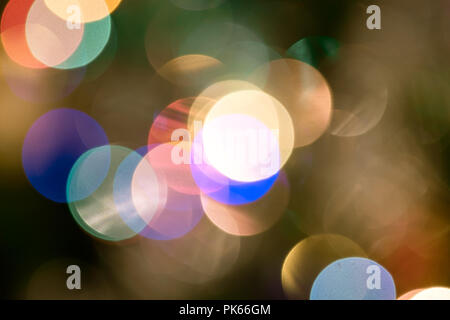 Christmas background with lights and blurred bokeh background. - Stock Photo