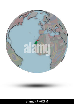 Western Sahara with national flag on political globe with shadow isolated on white background. 3D illustration. - Stock Photo