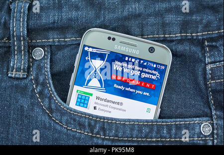 MONTREAL, CANADA - SEPTEMBER 8, 2018: Microsoft Wordament game on Samsung s7 screen - Stock Photo