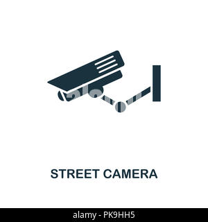 Street Camera icon. Monochrome style design from city elements collection. UI. Pixel perfect simple pictogram street camera icon. Web design, apps, so - Stock Photo