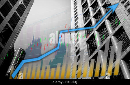 Composing with business building and blue bull chart on background - Stock Photo