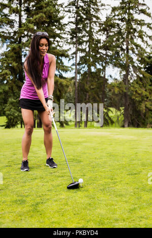 A female golfer lines up her driver to the golf ball as she sets up her shot on a tee; Edmonton, Alberta, Canada - Stock Photo