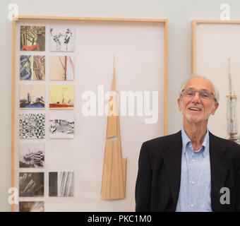 RA, Piccadilly, London, UK. 12 September, 2018. The Art of Making Buildings. The internationally acclaimed Architect Renzo Piano (designer of The Shard) opens an exhibition of his work at the Royal Academy. Centrepiece of the exhibition is a sculptural installation bringing together over 100 of Piano's projects on an imaginary island. The exhibition runs from 15 September 2018 - 20 January 2019. Credit: Malcolm Park/Alamy Live News. - Stock Photo