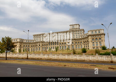 The Palace of the Parliament, House of the Republic, the second largest administrative buildings in the world, Bucharest, Romania. - Stock Photo