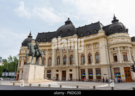 The equestrian statue of Carol I (by  Florin Codre) on Calea Victoriei in Bucharest, Romania. - Stock Photo