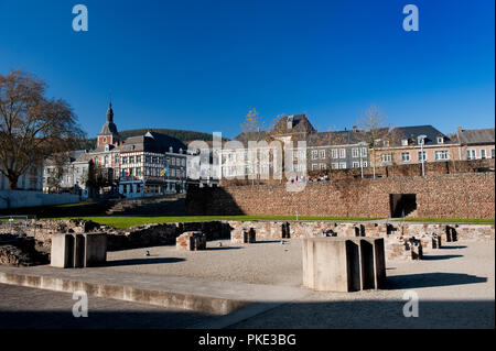 The foundations of the abbey church of the Abbey of the Prince-Bishops of Stavelot in the Eastern Cantons, formerly St. Remacle abbey (Belgium, 15/11/ - Stock Photo